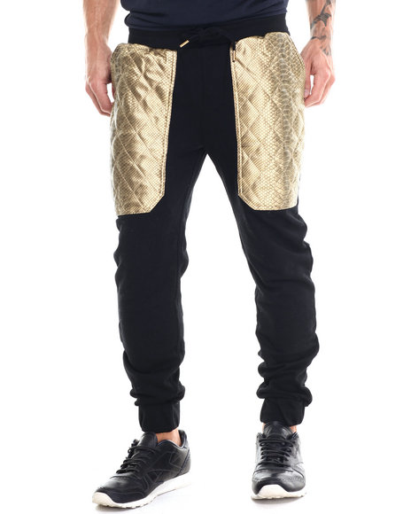 Buyers Picks - Men Black Diamond Quilted Faux Leather Trim Jogger Pants