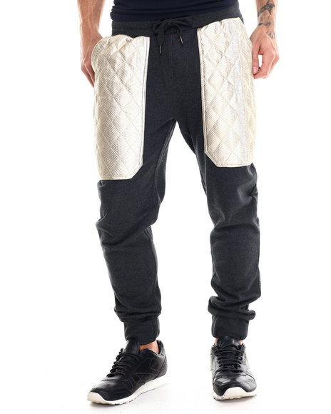Buyers Picks - Men Charcoal Diamond Quilted Faux Leather Trim Jogger Pants - $36.99