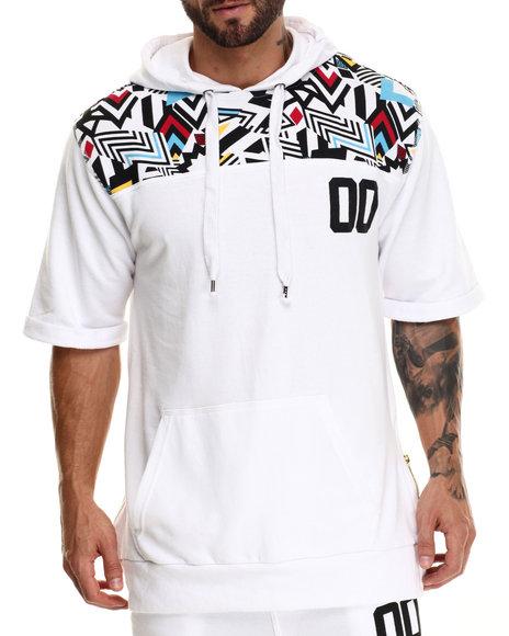 Buyers Picks - Men White Colored Zebra Retro Print S/S Pullover Hoody