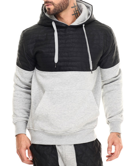 Buyers Picks - Men Grey Quilted Detail Pullover Hoody