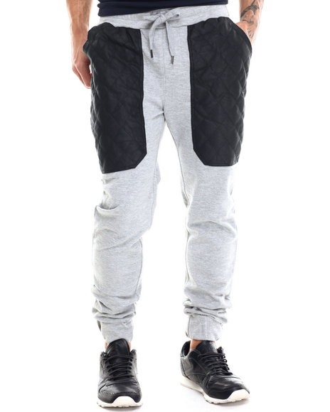 Buyers Picks - Men Grey Diamond Quilted Faux Leather Trim Jogger Pants