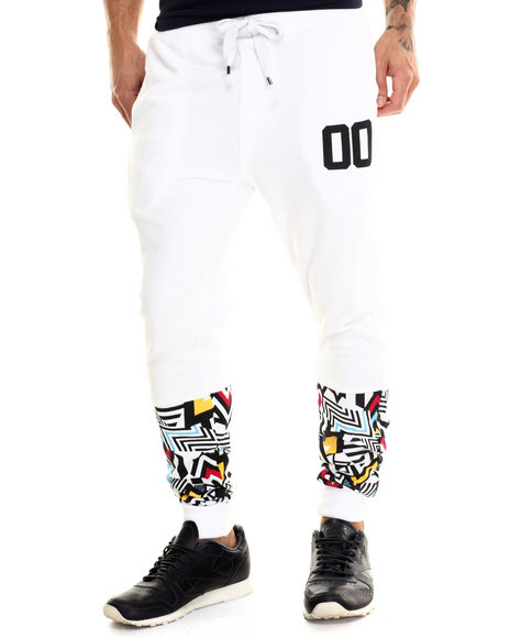 Buyers Picks - Men White Colored Zebra Retro Print Knit Jogger Pants