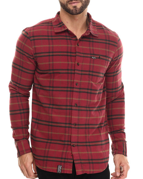 Lrg - Men Maroon Independent Thinkers Plaid L/S Button-Down