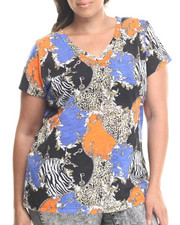 Fashion Lab - Shawna All Over Print Tee Shirt (plus)