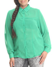 Fashion Lab - Basic Button Down Long Sleeve Chiffon Button Down (plu)