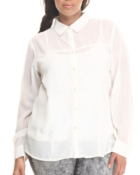 Fashion Lab - Women Ivory Basic Button Down Long Sleeve Chiffon Button Down (Plu)