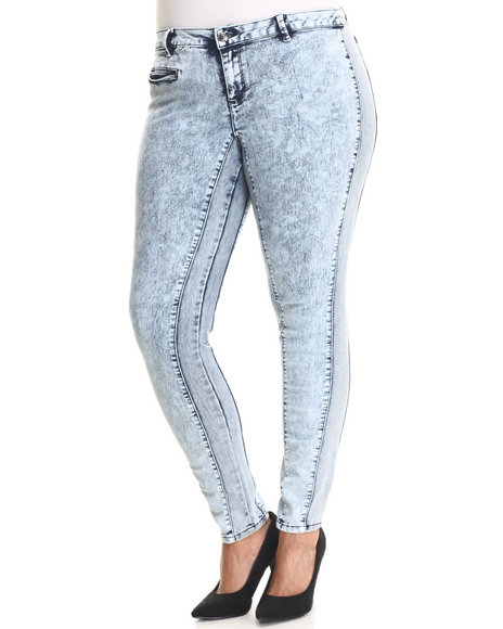 Basic Essentials - Women Light Wash Acid Love Moto Two Tone Panel Super Stretch Skinny Jean (Plus) - $28.99