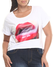 Tops - Lips Graphic Hi-Low Hem Tee (Plus)