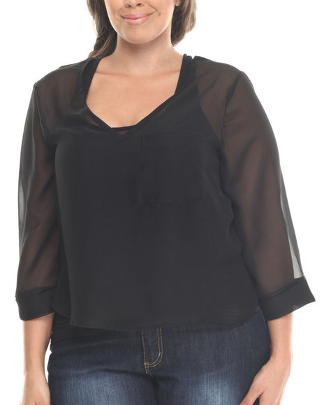 Baby Phat - Women Black Chiffon Cowl Back 3/4 Sleeve Top (Plus)