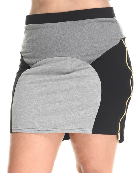 Baby Phat - Women Charcoal,Black,Grey Colorblock Sporty Skirt (Plus)