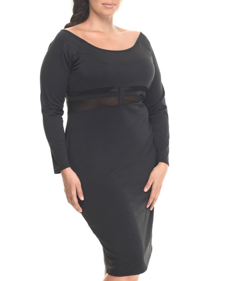 Baby Phat - Women Black Sheer Cage Midi Dress (Plus)