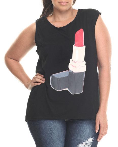 Ur-ID 186700 Baby Phat - Women Black Lipstick Graphic Mucle Tee (Plus)