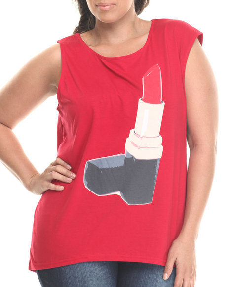 Baby Phat - Women Red Lipstick Graphic Mucle Tee (Plus)