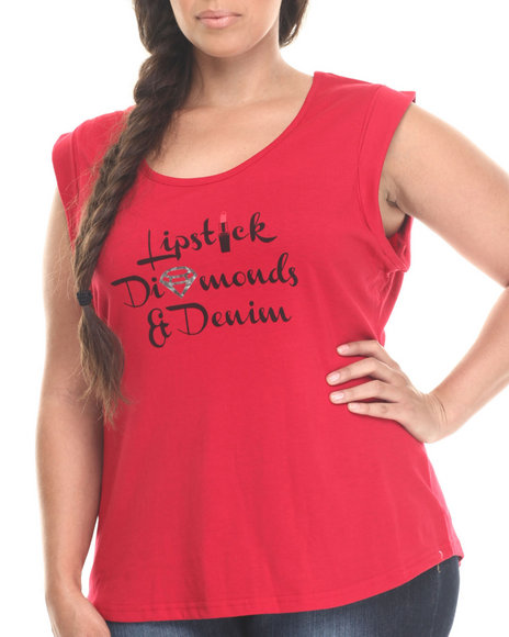 Baby Phat - Women Red Lipstick Diamond Denim Tee (Plus)