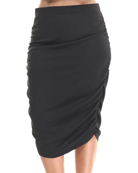 Baby Phat - Women Black Caterpillar Rouched Skirt (Plus)