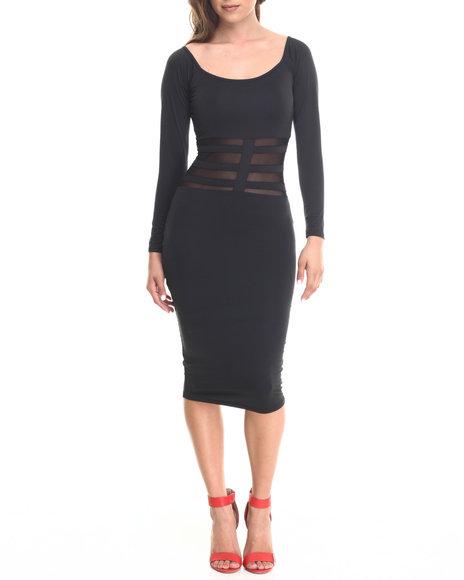Baby Phat - Women Black Sheer Cage Midi Dress - $30.00