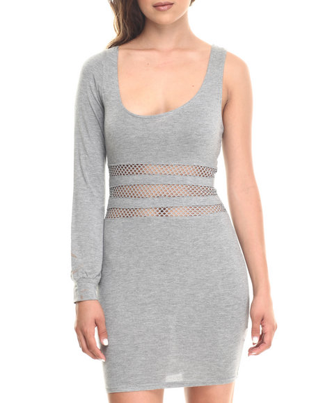 Ur-ID 186699 Baby Phat - Women Grey Mesh Waist One Shoulder Asymmetrical Neckline Dress