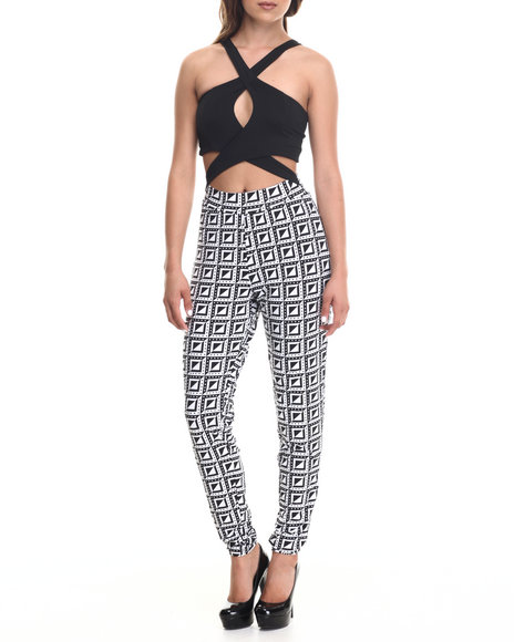Baby Phat - Women Black,White X-Treme Top Print Bottom Jumpsuit