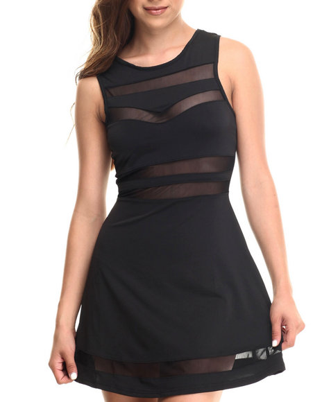 Baby Phat - Women Black Sheer Inserts Skater Dress