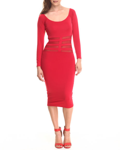 Baby Phat - Women Red Sheer Cage Midi Dress