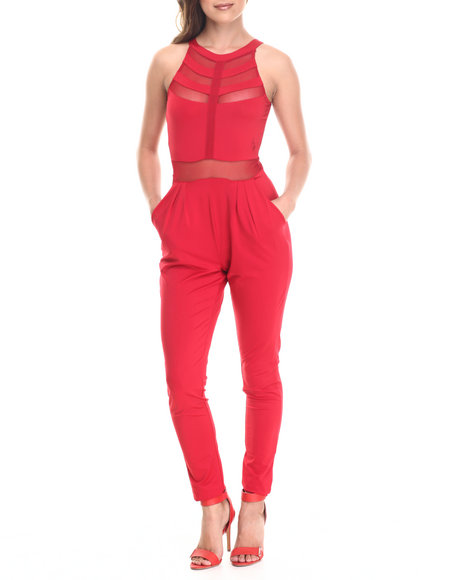 Baby Phat - Women Red Sheer Inserts Jumpsuit
