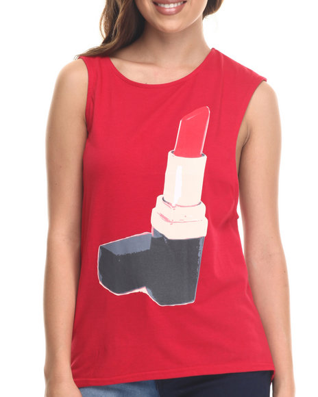 Baby Phat - Women Red Lipstick Graphic Mucle Tee
