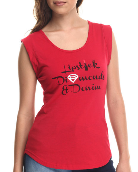 Baby Phat - Women Red Lipstick Diamond Denim Tee