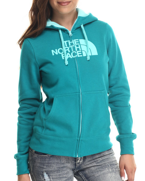 The North Face - Women Teal Half Dome Full Zip Hoodie
