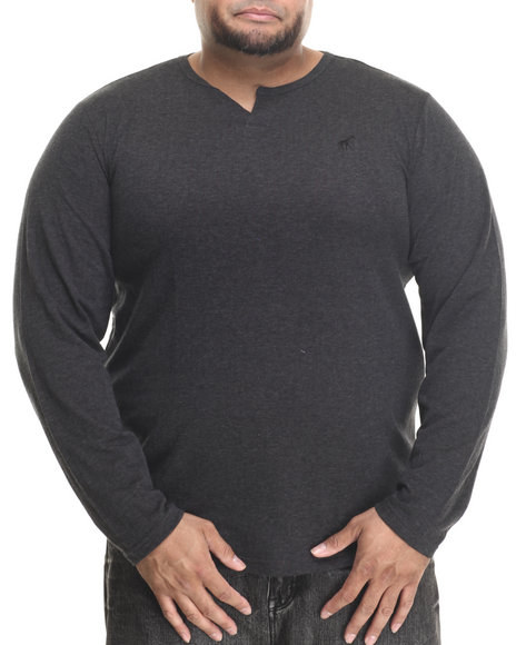 Lrg - Men Black Independent L/S Henley (B&T)
