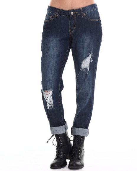 Ur-ID 186701 Baby Phat - Women Medium Wash Boyfriend Rips Jean
