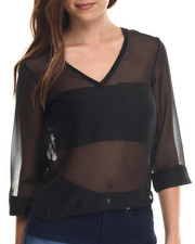 Tops - Chiffon Cowl Back 3/4 Sleeve Top