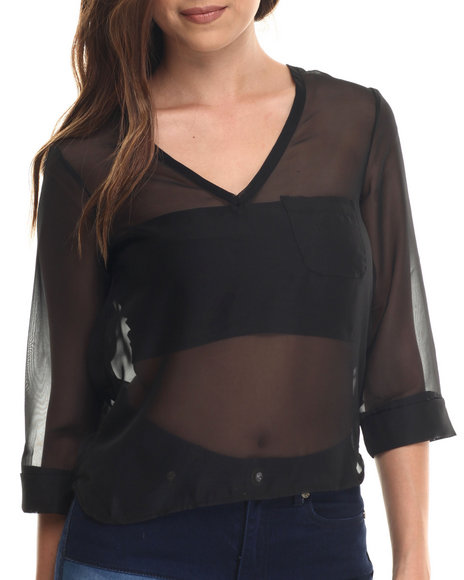 Baby Phat - Women Black Chiffon Cowl Back 3/4 Sleeve Top