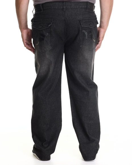 Rocawear - Men Black P U Back Pockets Denim Jeans (B&T)