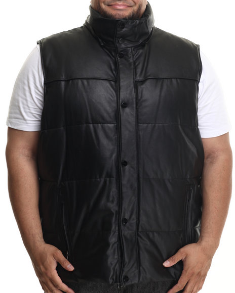 Sean John - Men Black Quilted Faux Leather Vest (B&T)