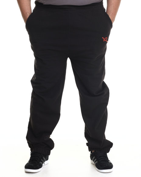 Rocawear - Men Black R Script Fleece Pants (B&T)