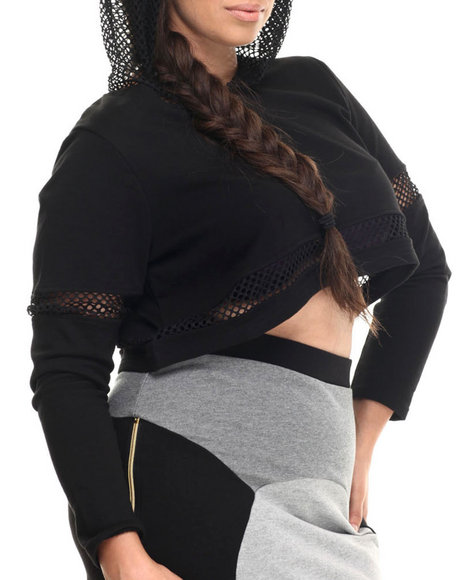 Baby Phat - Women Black Sporty Mesh Cropped Hoodie (Plus)