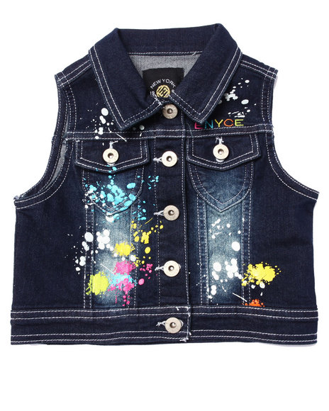Enyce - Girls Dark Wash Splatter Paint Denim Vest (4-6X)