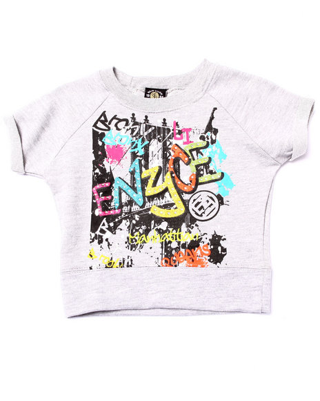 Enyce - Girls Grey French Terry Graffiti Top (4-6X) - $5.99
