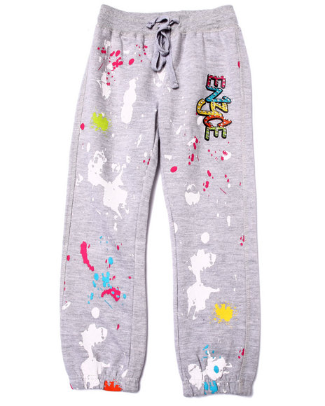 Enyce - Girls Grey French Terry Graffiti Pants (4-6X)
