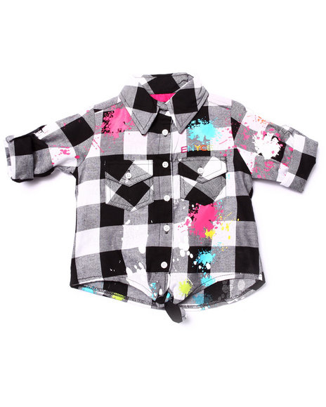 Enyce - Girls Black Splatter Tie Front Woven (4-6X)