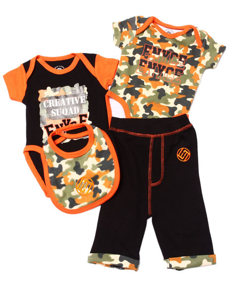Enyce - Boys Camo 4 Pc Set - 2 Bodysuits, Pants, & Bib (Newborn)