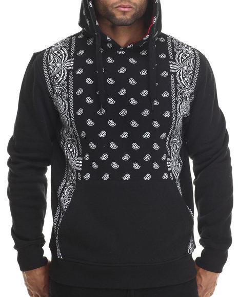 Buyers Picks - Men Black Bandana Print Pullover Fleece Hoody