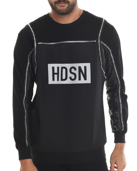 Hudson Nyc - Men Black Discovery Lux French Terry Crewneck Sweatshirt