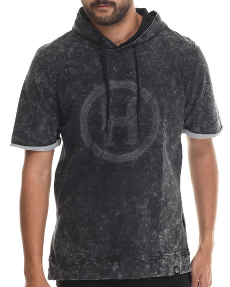 Hudson Nyc - Men Black Pop Rock Acid Wash French Terry S/S Sweatshirt