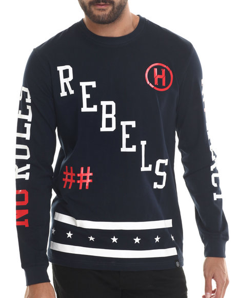 Hudson Nyc - Men Navy Rebel Nation Breathable Knit Hockey Jersey