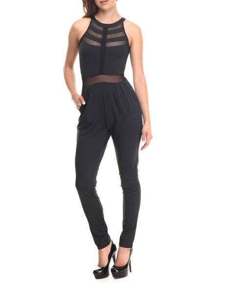 Baby Phat - Women Black Sheer Inserts Jumpsuit