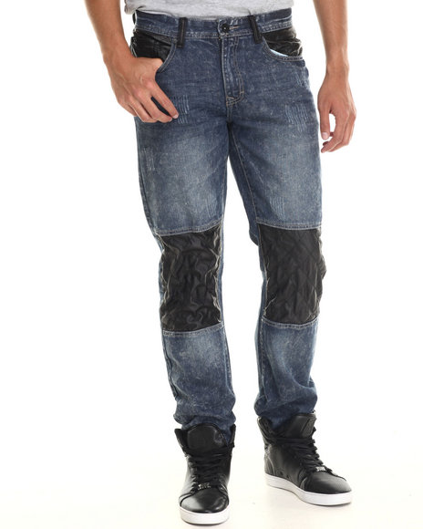Buyers Picks - Men Medium Wash Premium Diamond Quilted Faux Leather Detail Denim Jeans - $36.99