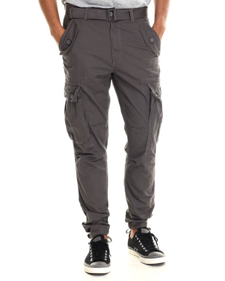 Buyers Picks - Men Grey Classic Belted Slim Fit Cargo Pants