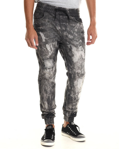 Buyers Picks - Men Black Ripped Detail Jogger Denim Jeans