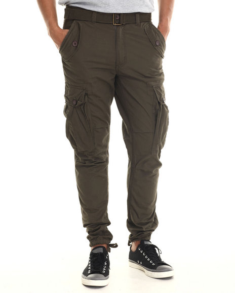 Buyers Picks - Men Olive Classic Belted Slim Fit Cargo Pants